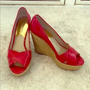 Michael Kors red patent leather wedges- 7.5